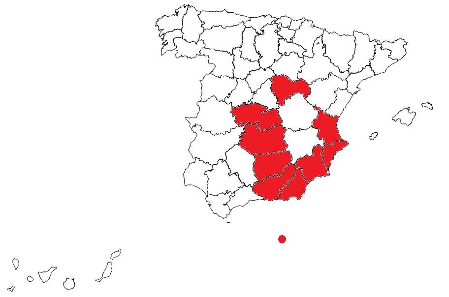 Segunda RFEF mapa Grupo V 21-22