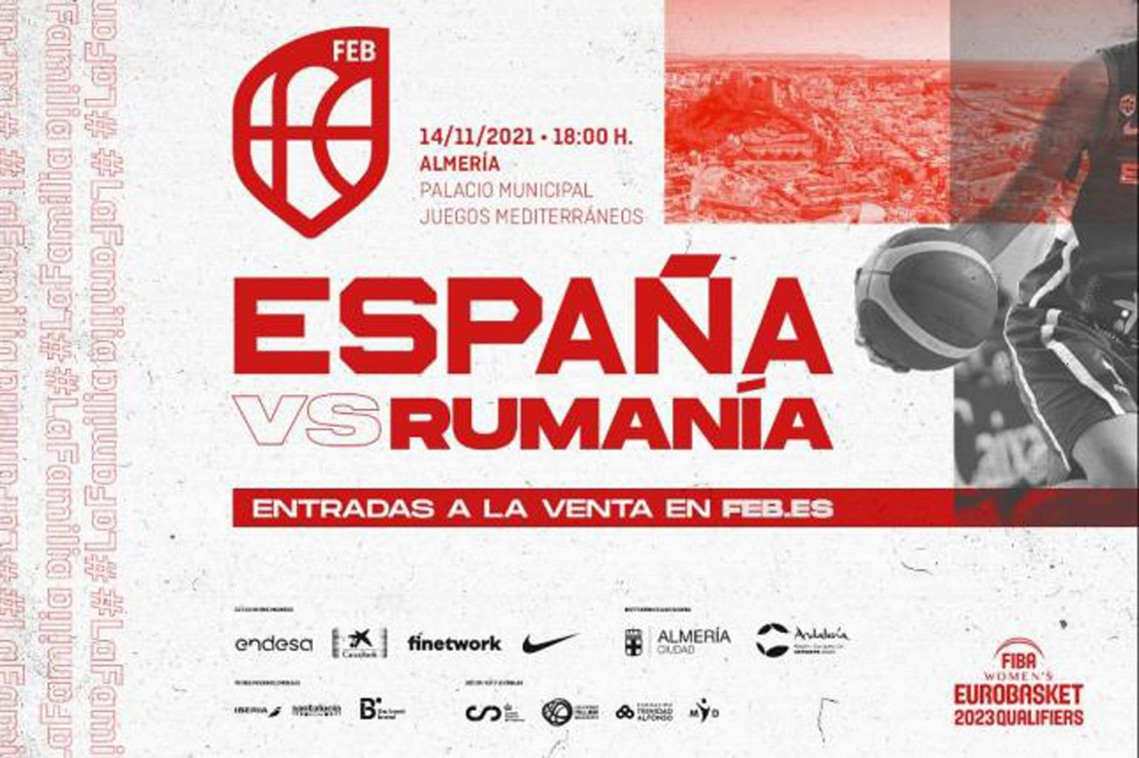Cartel España vs Rumanía baloncesto femenino